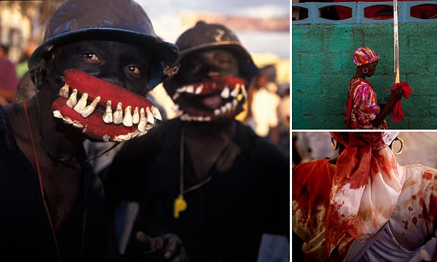 Pictures show the rites of voodoo where followers become 'possessed' by spirits