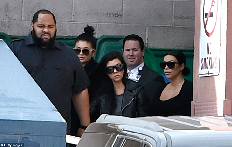 Kylie Jenner, Kourtney Kardashian and Kim Kardashian West are seen leaving Sunrise Hospital in Las Vegas on Thursday where former brother-in-law Lamar is being treated