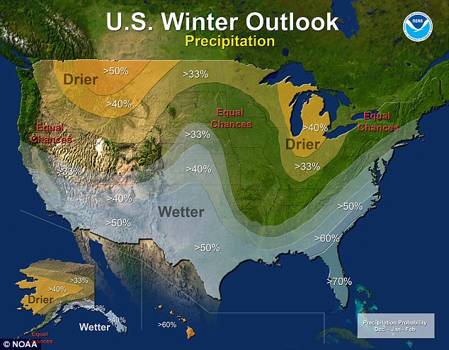 The National Oceanic Atmospheric Administration issued its winter forecast, saying El Nino will leave a big wet but not necessarily snowy footprint on much of the United States.