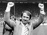 Everton 2 v 0 Watford 1984 F.A. Cup Final at Wembley. Everton manager Howard Kendall (right) leaves the pitch after his team's FA Cup Final win over Watford in 1984