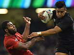 New Zealand's wing Julian Savea (R) pushes France's wing Noa Nakaitaci (L)  as he runs to score his second and his team's fourth try during a quarter final match of the 2015 Rugby World Cup between New Zealand and France at the Millennium Stadium in Cardiff, south Wales, on October 17, 2015.  AFP PHOTO / GABRIEL BOUYS RESTRICTED TO EDITORIAL USE, NO USE IN LIVE MATCH TRACKING SERVICES, TO BE USED AS NON-SEQUENTIAL STILLSGABRIEL BOUYS/AFP/Getty Images