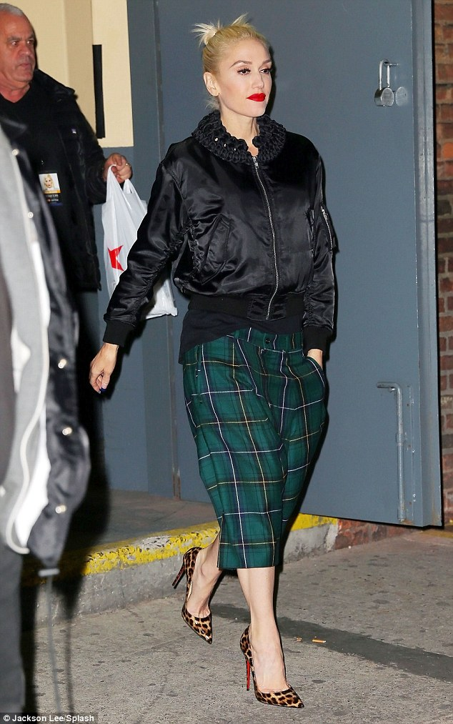 The original experimental dresser: Gwen Stefani cut an effortlessly chic figure as she was pictured leaving concert rehearsals in New York City on Friday