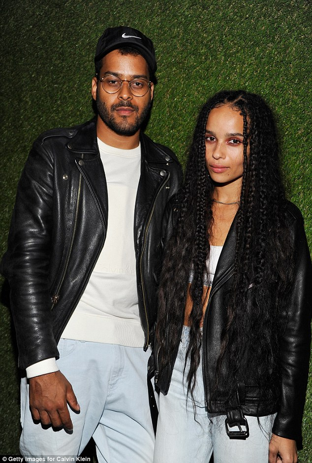 Planned beforehand? Zoe and musician Twin Shadow looked to have coordinated their outfits