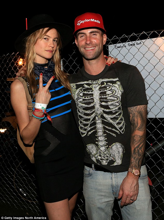 Off the market: The Maroon 5 lead singer married his model wife Behati Prinsloo (pictured at Coachella in April)