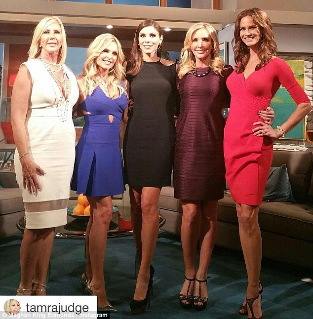 Ladies, laughter and lies: RHOC co-star Tamra Judge shared a pic of the ladies from the upcoming reunion show on Instagram with the caption, 'Who's ready for the reunion? Filled with tears, Laughter, secrets and lies . #RHOC'
