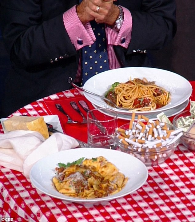 Delicious: Colbert did apappardelle while Kimmel went with a classic spaghetti and meatballs