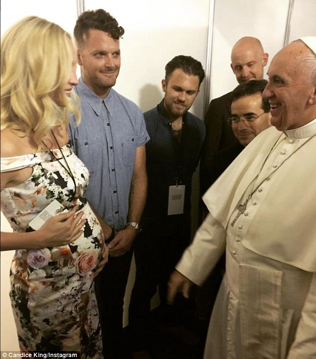 Introduced: The Vampire Diaries star met the pontiff when her rocker husband's band The Fray was playing at an event in his honour