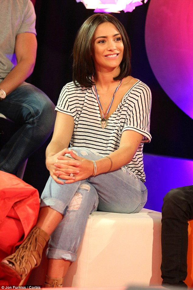 Gorgeous: Frankie Bridge opted for a smart casual look in ripped boyfriend jeans and a striped T-shirt