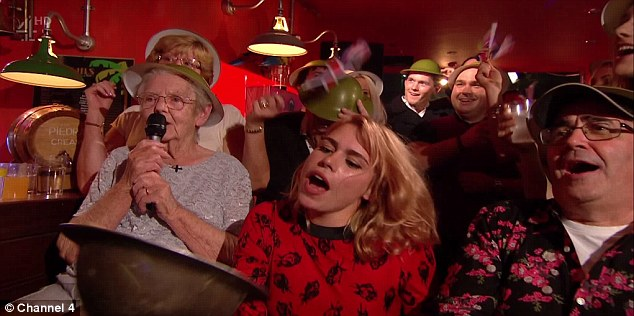 Showing her support: Just like the old days, the TFI bar was packed with Chris' mates, including his ex wife Billie Piper and pal Danny Baker, while the host's mother led a singalong