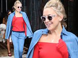 143795, Kate Hudson wears a full denim outfit as she leaves her hotel in Tribeca, New York City. New York, New York - Friday October 16, 2015. Photograph: � PacificCoastNews. Los Angeles Office: +1 310.822.0419 sales@pacificcoastnews.com FEE MUST BE AGREED PRIOR TO USAGE