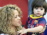 Mandatory Credit: Photo by Agencia EFE/REX Shutterstock (4681947c)  Shakira holds her son Milan Pique Mebarak  Barcelona v Valencia, La Liga Football match, Camp Nou Stadium, Barcelona, Spain - 18 Apr 2015  FC Barcelona won 2-0. Colombian singer Shakira is the partner of FC Barcelona's player Gerard Pique and they have two children.