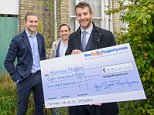 20141015       Copyright image 2014©..Matthew Phillpott receives his cheque from YouSpotProperty.com founders Nicholas Kalms and Benjamin Radstone..For further info please contact..David Stoch, Meerkat PR on ..david@meerkatpr.co.uk..020 8563 9182..For photographic enquiries please call Anthony Upton 07973 830 517 or email info@anthonyupton.com ..This image is copyright Anthony Upton 2014©...This image has been supplied by Anthony Upton and must be credited Anthony Upton. The author is asserting his full Moral rights in relation to the publication of this image. All rights reserved. Rights for onward transmission of any image or file is not granted or implied. Changing or deleting Copyright information is illegal as specified in the Copyright, Design and Patents Act 1988. If you are in any way unsure of your right to publish this image please contact Anthony Upton on +44(0)7973 830 517 or email:
