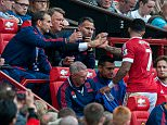 MANCHESTER UNITED V SUNDERLAND - PREMIER LEAGUE GAME AT OLD TRAFFORD  United's manager Louis Van Gaal shakes hands with subbed Memphis Depay   United won the match 3-0.