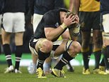 Scotland's number 8 David Denton reacts after losing  a quarter final match of the 2015 Rugby World Cup between Australia and Scotland at Twickenham stadium, southwest London on October 18, 2015. AFP PHOTO / MARTIN BUREAU RESTRICTED TO EDITORIAL USE, NO USE IN LIVE MATCH TRACKING SERVICES, TO BE USED AS NON-SEQUENTIAL STILLSMARTIN BUREAU/AFP/Getty Images