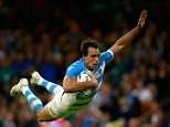 CARDIFF, WALES - OCTOBER 18:  Juan Imhoff of Argentina dives over the line to score his team's fourth try during the 2015 Rugby World Cup Quarter Final match between Ireland and Argentina at the Millennium Stadium on October 18, 2015 in Cardiff, United Kingdom.  (Photo by Phil Walter/Getty Images)