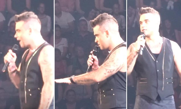 Robbie Williams tells sexy secretary joke to 15 year old fan in the audience