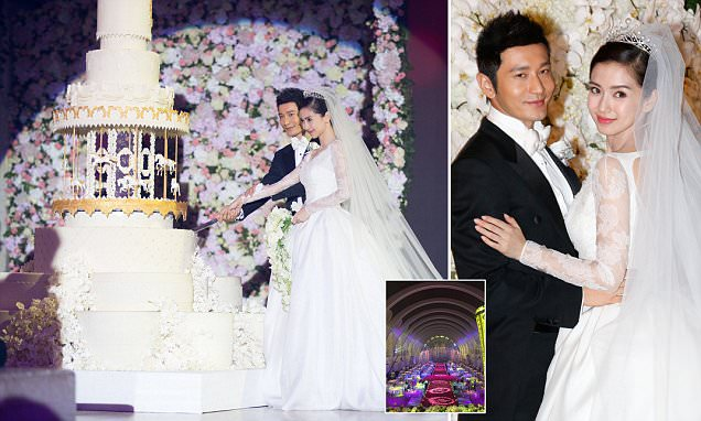 China's Kim Kardashian Angelababy marries with a custom Dior gown and a ten-foot cake