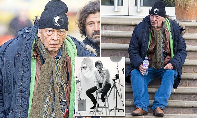Photographer David Bailey is unrecognisable in an anorak and woolly cap