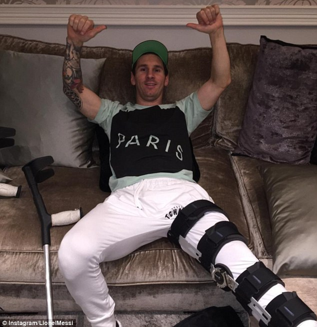 Messi posted an encouraging picture on Instagram last week as the star recovers from his knee injury