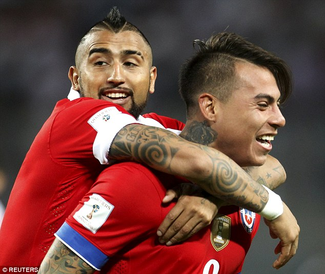 Eduardo Vargas (right), now at Hoffenheim, also scored twice and is pictured celebrating with Arturo Vidal