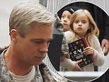 Picture Shows: Brad Pitt  October 14, 2015\n \n **NO WEB USE UNTIL 4PM OCTOBER 18TH 2015**\n **MINIMUM WEB FEE £400**\n \n \n Brad Pitt seen with his children on set with his hair dyed grey in London. Brad was in costume wearing camouflage gear.\n \n **NO WEB USE UNTIL 4PM OCTOBER 18TH 2015**\n **MINIMUM WEB FEE £400**\n \n Exclusive ALL ROUND\n Worldwide Rights\n \n Pictures by : FameFlynet UK © 2015\n Tel : +44 (0)20 3551 5049\n Email : info@fameflynet.uk.com