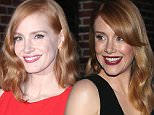 Picture Shows: Jessica Chastain  October 16, 2015\n \n The cast of 'Crimson Peak' at a taping of 'The Late Show with Stephen Colbert' in New York City. Guests include Jessica Chastain, Tom Hiddleston, Mia Wasikowska, Guillermo Del Toro. \n \n Non-Exclusive\n UK RIGHTS ONLY\n \n Pictures by : FameFlynet UK � 2015\n Tel : +44 (0)20 3551 5049\n Email : info@fameflynet.uk.com