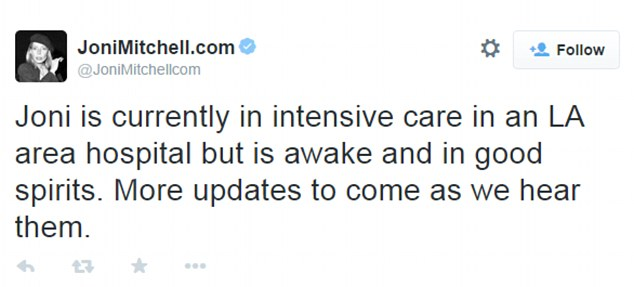 Updates: This message about Mitchell's condition was posted to her official Twitter earlier this month