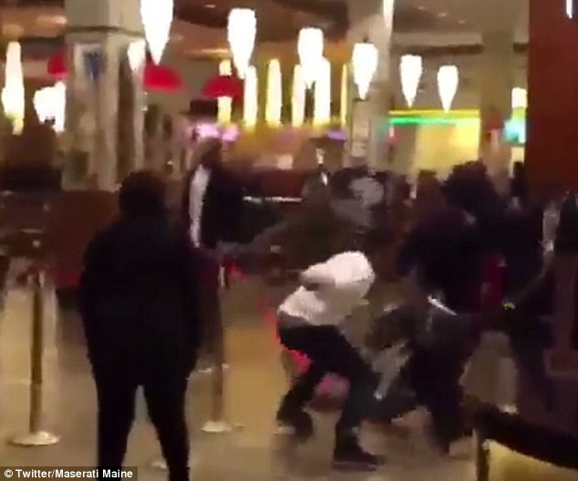 Bar brawl: Video posted on twitter showed angry patrons attacking one another