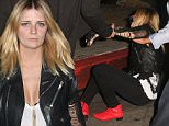 UK CLIENTS MUST CREDIT: AKM-GSI ONLY\nEXCLUSIVE: **SHOT ON 10/16/15** West Hollywood, CA - Mischa Barton takes a tumble at Chateau Marmont as she arrives with friends looking stylish with a black leather jacket, black skinny jeans with red boot accents.\n\nPictured: Mischa Barton\nRef: SPL1154315  171015   EXCLUSIVE\nPicture by: AKM-GSI / Splash News\n\n