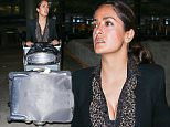 18 Oct 2015 - LOS ANGELES - USA  SALMA HAYEK AT LAX   BYLINE MUST READ : XPOSUREPHOTOS.COM  ***UK CLIENTS - PICTURES CONTAINING CHILDREN PLEASE PIXELATE FACE PRIOR TO PUBLICATION ***  **UK CLIENTS MUST CALL PRIOR TO TV OR ONLINE USAGE PLEASE TELEPHONE  44 208 344 2007 ***