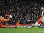 Arsenal V Bayern Munich, Champions league.  Picture Andy Hooper Daily Mail/ Solo Syndication pic shows lewandoski shoots cech saves