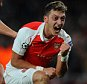 Champions League. Arsenal v Bayern Munich 2010/15: Picture Kevin Quigley/solo syndication  Mesut Ozil scores 2-0