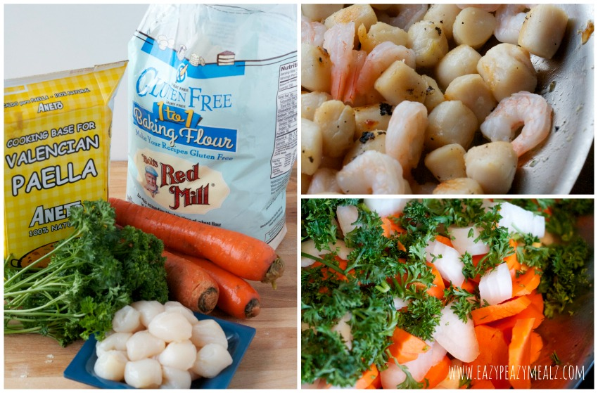 Making gluten free seafood pot pie Gluten Free Seafood Pot Pie