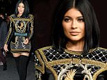 Kylie Jenner looks stunning in a Balmain dress while heading to the H&M Balmain show on Wall St in NYC.\n\nPictured: Kylie Jenner\nRef: SPL1156615  201015  \nPicture by: Splash News\n\nSplash News and Pictures\nLos Angeles: 310-821-2666\nNew York: 212-619-2666\nLondon: 870-934-2666\nphotodesk@splashnews.com\n