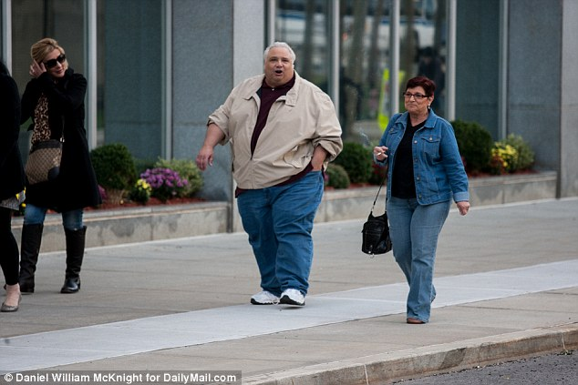 Betrayal: Anthony 'Fat Sammy' Valenti arriving in court on Tuesday in Brooklyn. He later expressed his fury with his father for allegedly breaking the reputed omerta of silence that members of the Mafia allegedly take