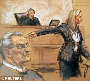Day in court: Vincent Asaro looks on as prosecutor Lindsay Gerdes (right) makes opening statements in Asaro's trial in this court sketch from New York on October 19, 2015