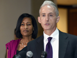 FILE - In this Sept. 3, 2015 file photo, former Hillary Rodham Clinton aide Cheryl Mills listens at left as House Benghazi Committee Chairman Trey Gowdy, R-S.C. speaks to reporters on Capitol Hill in Washington following her deposition before the panel investigating Benghazi. Democrats on the House committee investigating the deadly attacks in Benghazi, Libya, have released a full transcript of testimony by Mills. The release comes a day before Clinton is expected to testify. (AP Photo/Susan Walsh, File)