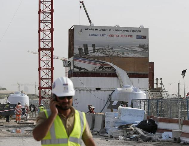 Construction of a new metro line in Doha on March 24, 2015