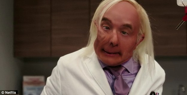 Martin Short had a small role as Dr Franff in one episode of the TV show's first season. When he is punched by the main character, Kimmy, as she struggles to escape the plastic surgeon's chair, his face dents like putty - which he then inflates with an air tube
