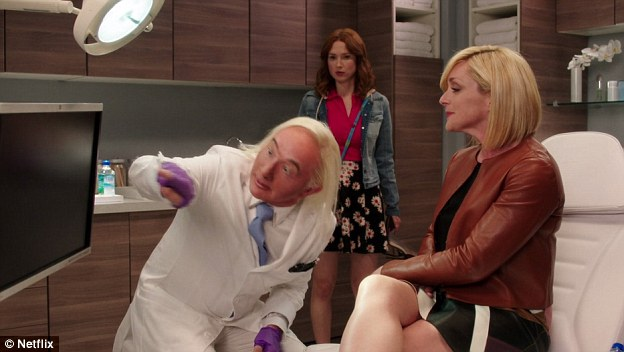 Franff's platinum blond hair and tight skin have a stark resemblance to that of cosmetic dermatologist Fredric Brandt
