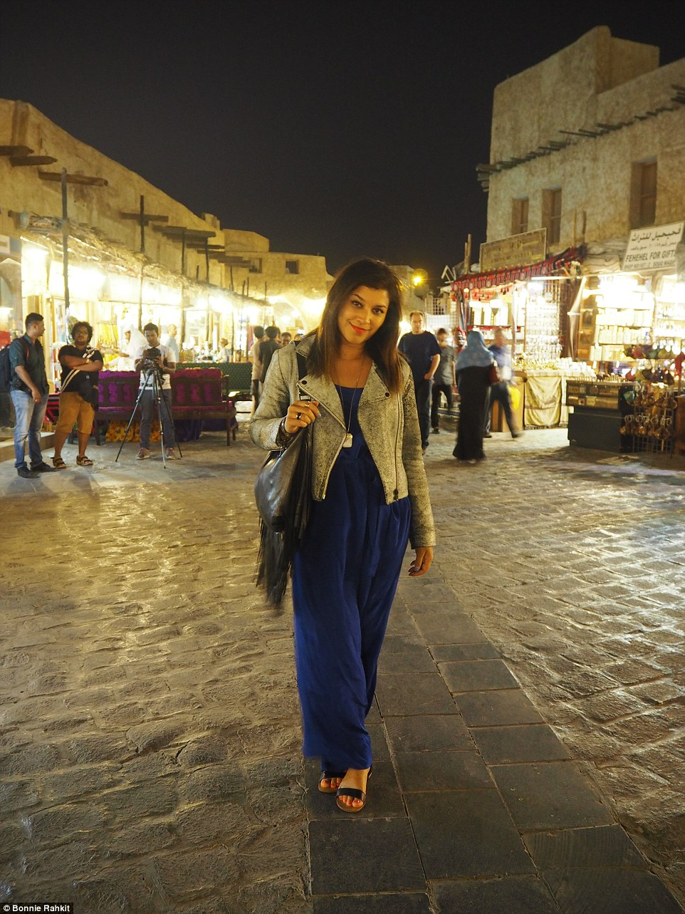 Bonnie Rakhit in Marrakesh's famous El Fnaa square: at night the place is a lively mix of traders, snake charmers, dancers and hawkers