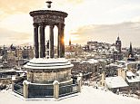 A general view of the Edinburgh city under snow.