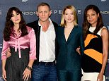 (left to right) Monica Bellucci, Daniel Craig, Lea Seydoux and Naomie Harris attending the Spectre photocall, held at the Corinthia Hotel ballroom, Whitehall Pl, London. PRESS ASSOCIATION Photo. See PA story SHOWBIZ Bond. Picture date: Thursday October 22nd, 2015. Photo credit should read: Ian West/PA Wire