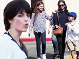 143968, EXCLUSIVE: Selma Blair gets into character as Kris Kardashian, joined by her on screen husband Robert Kardashian played by David Schwimmer and their kids playing Kourtney, Khloe and Rob. Los Angeles, California - Tuesday October 20, 2015. Photograph: KVS, © PacificCoastNews. Los Angeles Office: +1 310.822.0419 sales@pacificcoastnews.com FEE MUST BE AGREED PRIOR TO USAGE