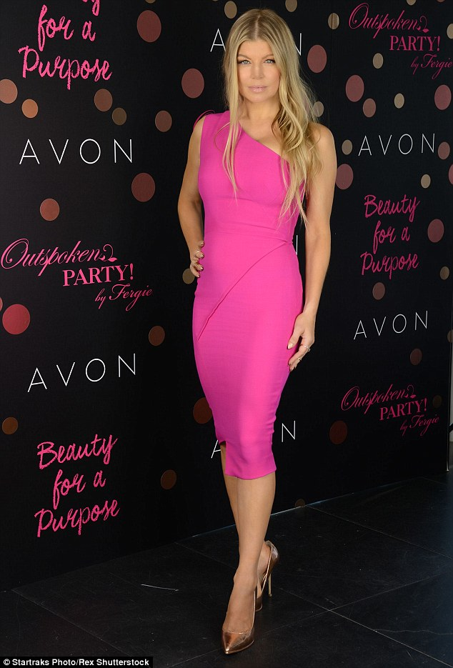In the pink: Fergie bowed her latest Avon fragrance, Outspoken Party, the fifth scent in her range, on Monday