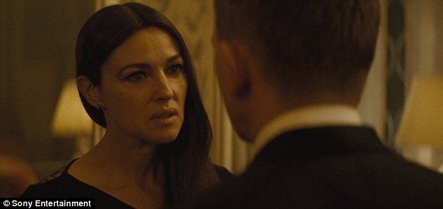 'I don't trust you': Bellucci - who portraysLucia Sciarra, the beautiful and forbidden widow of an infamous criminal - tells 007 she isn't sure about his presence