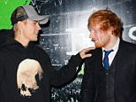 "LONDON, ENGLAND - OCTOBER 22:  Justin Bieber (L) and Ed Sheeran attend the World Premiere of ""Ed Sheeran: Jumpers For Goalposts"" at Odeon Leicester Square on October 22, 2015 in London, England.   Pic Credit: Dave Benett"