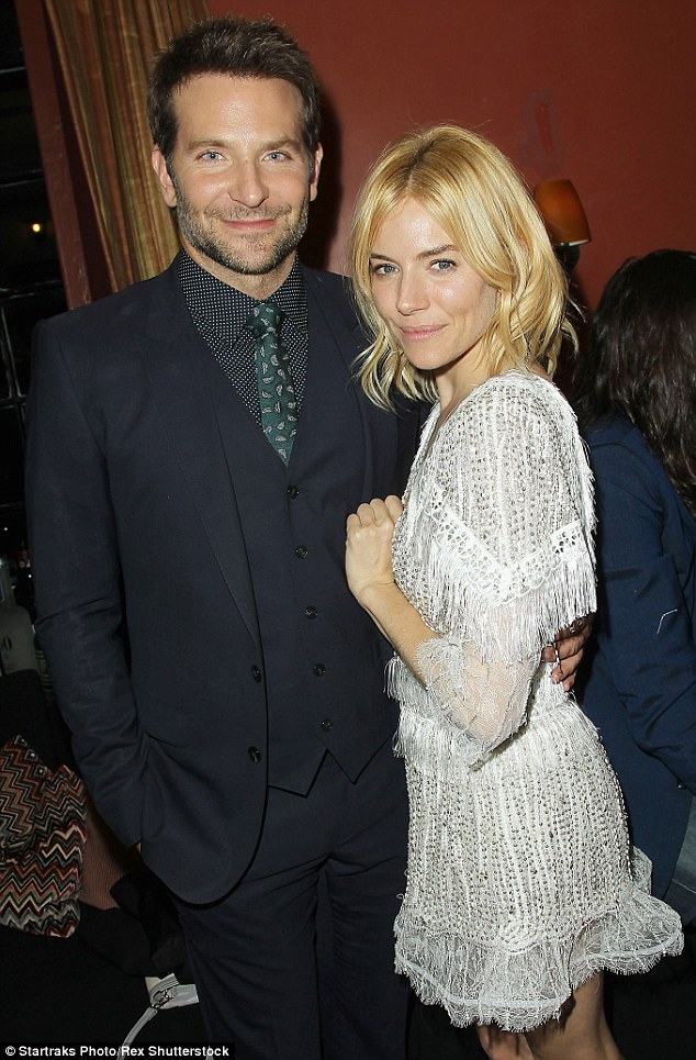 Close co-stars: Bradley placed an affectionate arm around Sienna's back at they partied atOtto Enoteca e Pizzeria in New York following the premiere