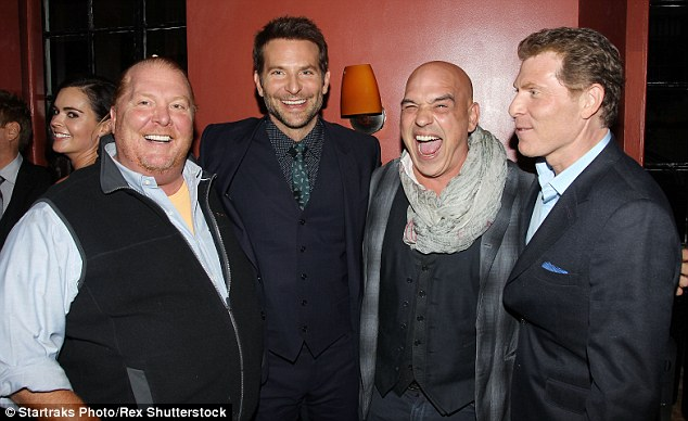 Group pic: Mario Batali, Bradley, Michael Symon and Bobby Flay cosied in for a group shot