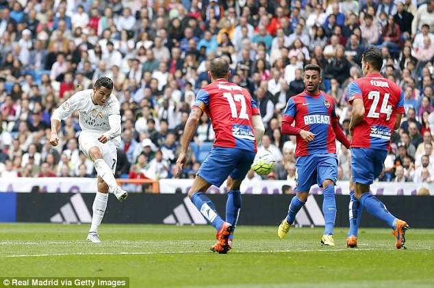 Ronaldoovertook Raul as Real Madrid's record scorer when he found the net against Levante